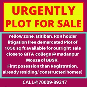 1650 sq. ft. Residential Land / Plot for Sale in madanpur, Bhubaneswar
